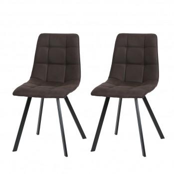 Lot de 2 chaises matelassées tissu microfibre