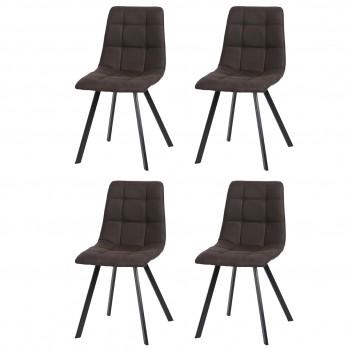 Lot de 4 chaises matelassées tissus microfibre