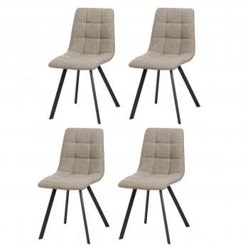 Lot de 4 chaises matelassées effet lin chiné