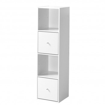 Meuble 4 cases avec 2 grands tiroirs - Blanc