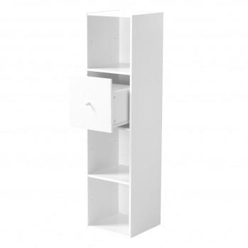 Meuble 4 cases blanc avec grand tiroir blanc