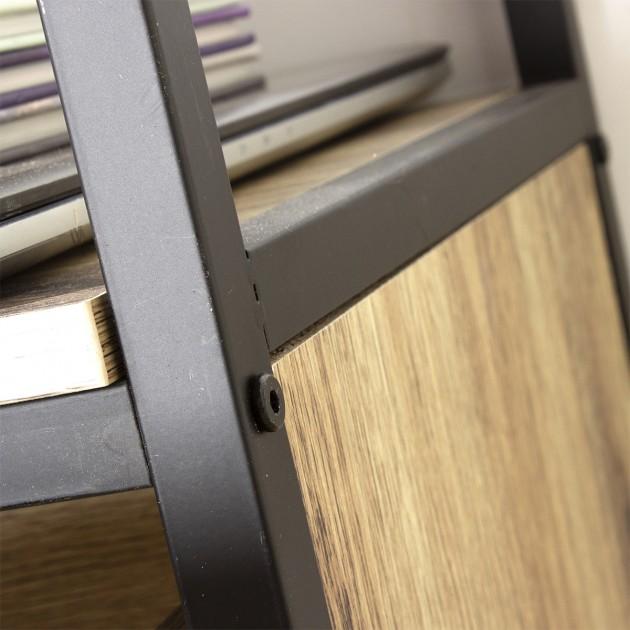 Meuble TV 2 tiroirs métal et bois - L120cm Loft
