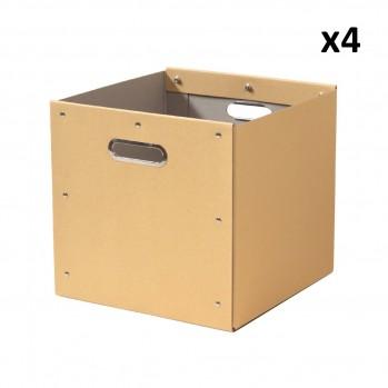 Lot de 4 cubes de rangement en kraft - 28x28x27cm
