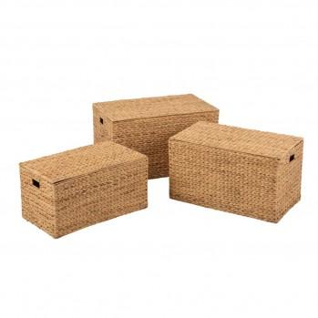 Set de 3 malles rectangulaires en jacinthe d'eau