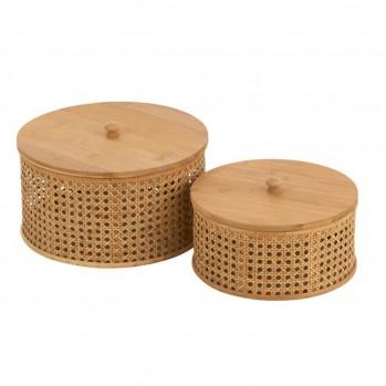 Set De 2 Boites De Rangement Rotin et Bambou Naturel