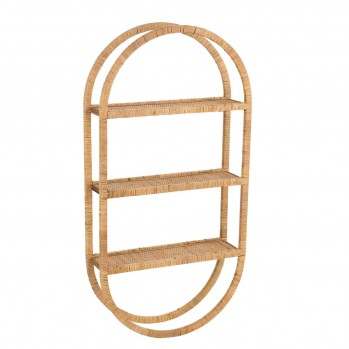 Etagere Murale Ovale 3 Planches pliable Rotin Naturel
