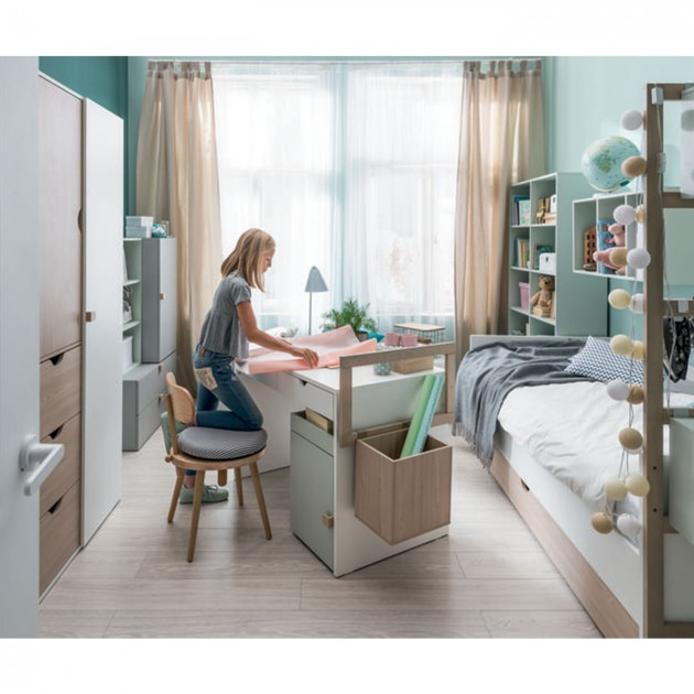 Bureau 2 tiroirs avec rebords en bois - STIGE