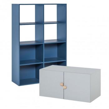 Bibliothèque 8 cases avec meuble bas 2 portes - STIGE