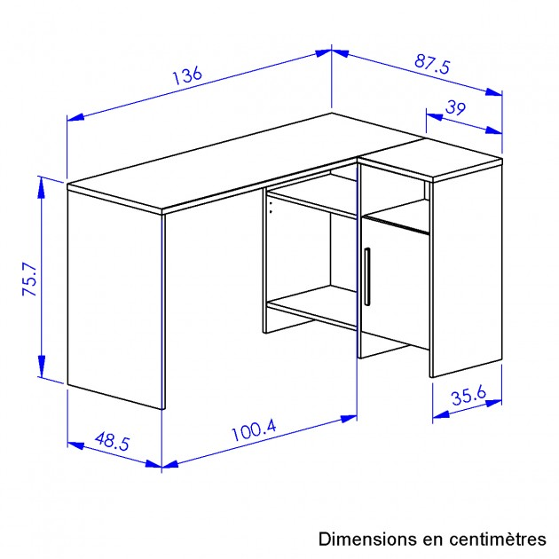 Bureau d'angle industriel Liverpool - Fabrication Française