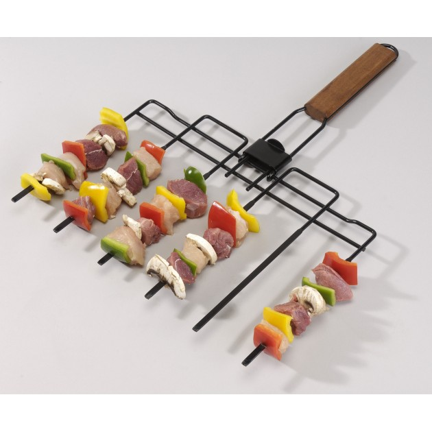 Brochette barbecue 6 en 1 pliable avec manche en bois