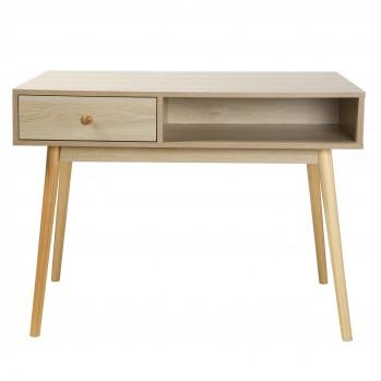 Bureau décor chêne 1 tiroir 1 case - profondeur 60cm