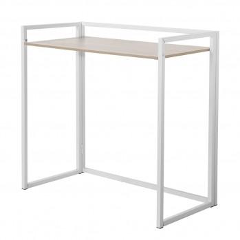 Bureau pliable L86 cm métal blanc et décor chêne