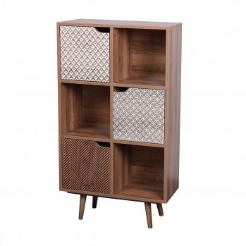 Bibliothèque 6 cases avec 3 portes avec motifs - Baobab