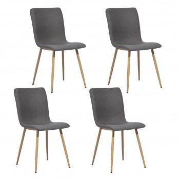 Lot de 4 chaises en tissu et pieds métal couleur bois