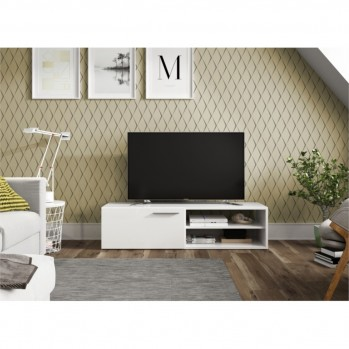 Meuble TV 1 porte battante et 2 niches de rangement