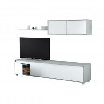 Meuble TV 4 portes L200 cm avec étagères murale 2 portes
