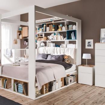 Chevet 2 tiroirs blanc et plateau bois - 4you