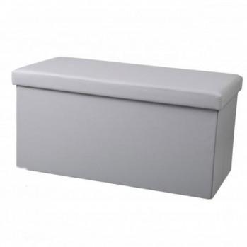 Banc de rangement pliable gris clair aspect cuir - 76 x 37,5 x 37,5 cm