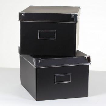 Lot de 2 boîtes carton noir + métal