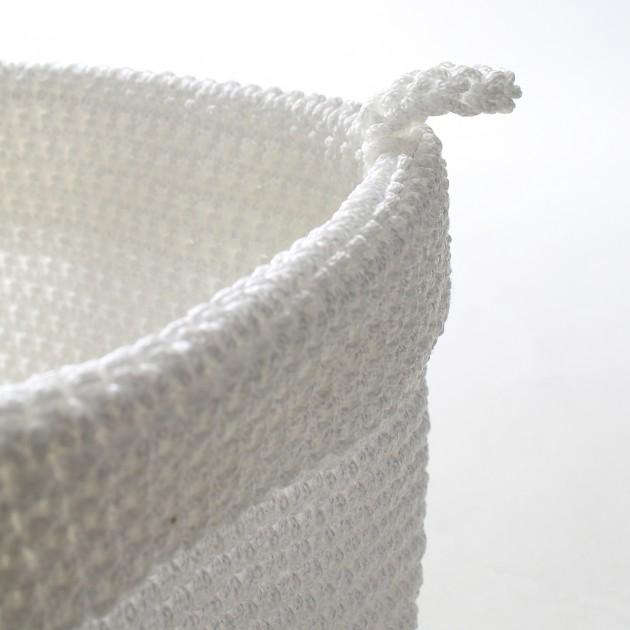 Panier rond maille crochet blanc grand modèle