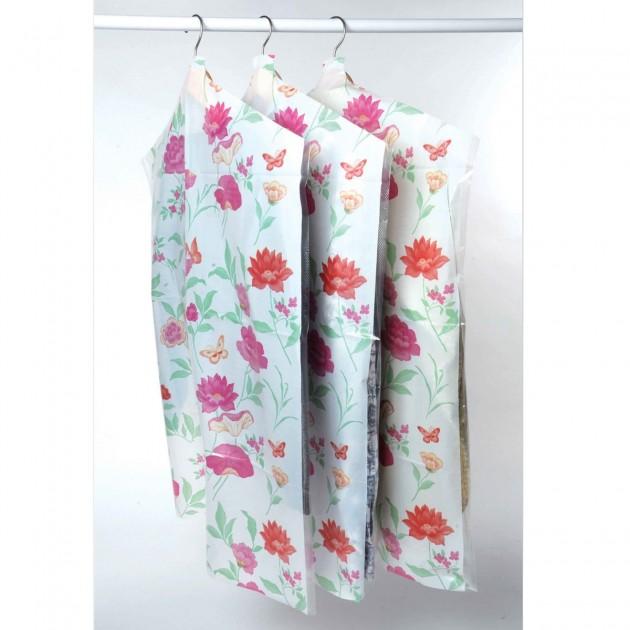 Lot 6 housses vêtement roseraie vert / rose 63x130 et 63x90