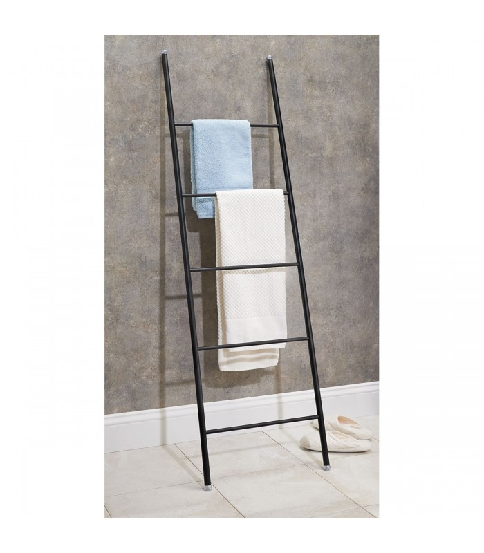 Echelle porte serviettes noire forma interdesign salle de bain Echelle porte serviettes