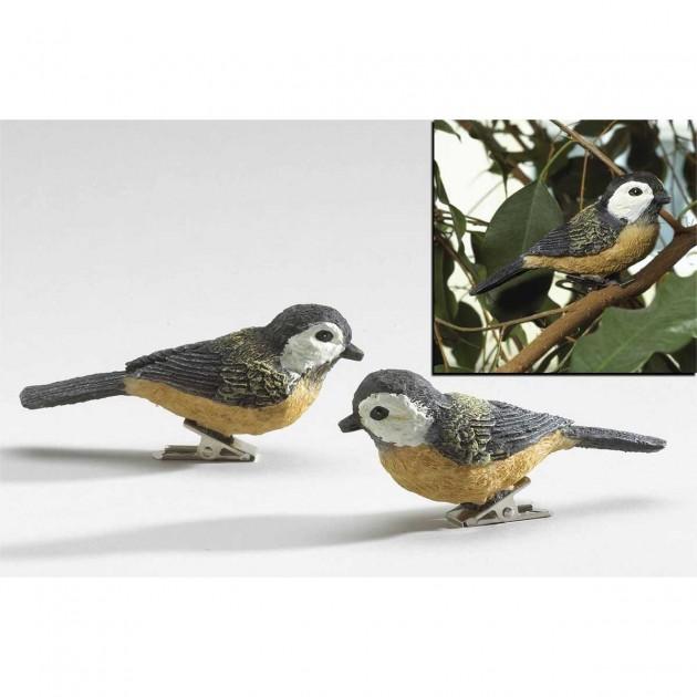 Oiseaux décoratifs sur pince - lot de 2