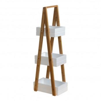 Etagère triangle bambou 3 bacs de rangement