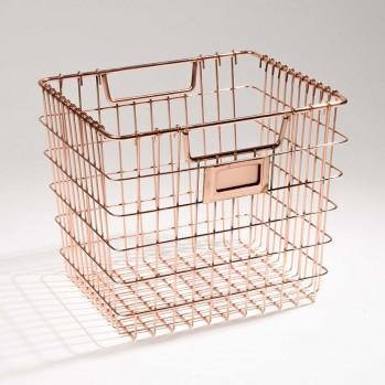 Panier de rangement carré en métal filaire Cuivre