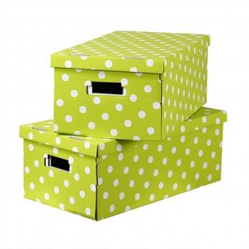 Lot 2 boites carton pliables verts à pois blanc