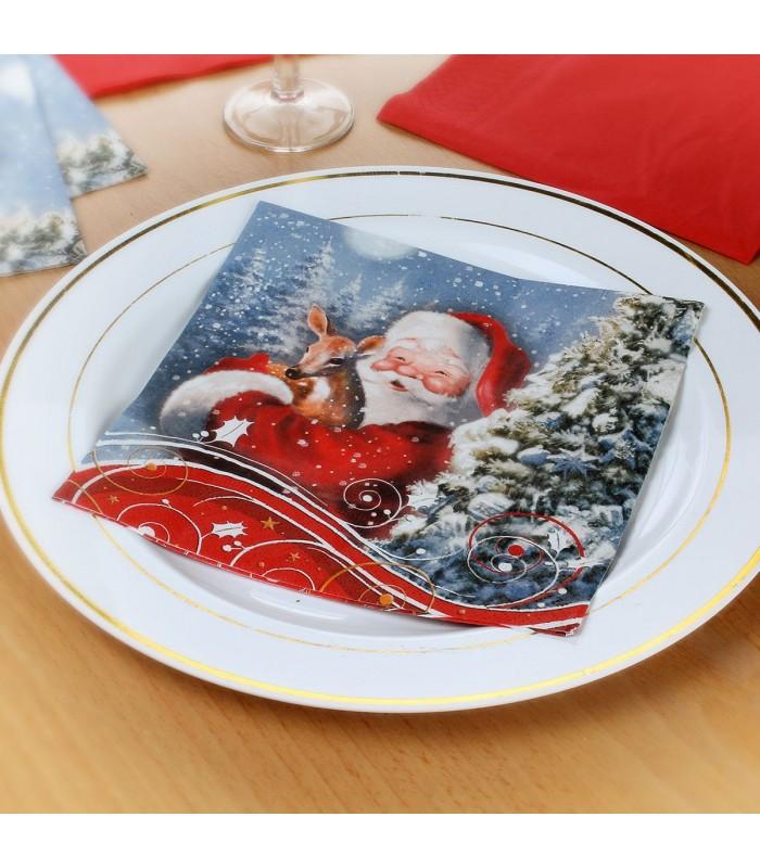 20 serviettes Père Noël + Faon