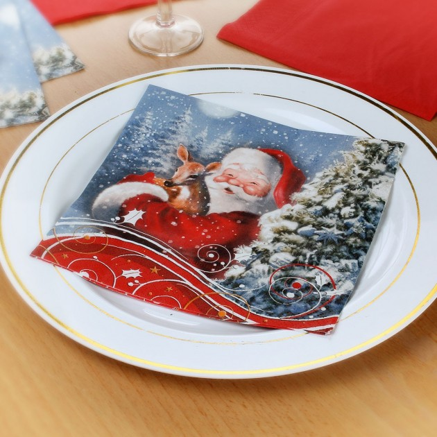 Serviettes Père Noël et Faon - lot de 20