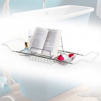 Pont de baignoire chromé avec porte livre ou tablette