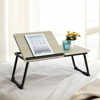 Table de lit beige pour tablette
