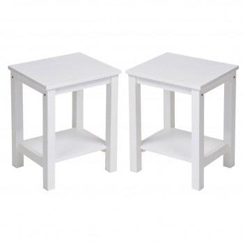Table basse en pin coloris blanc