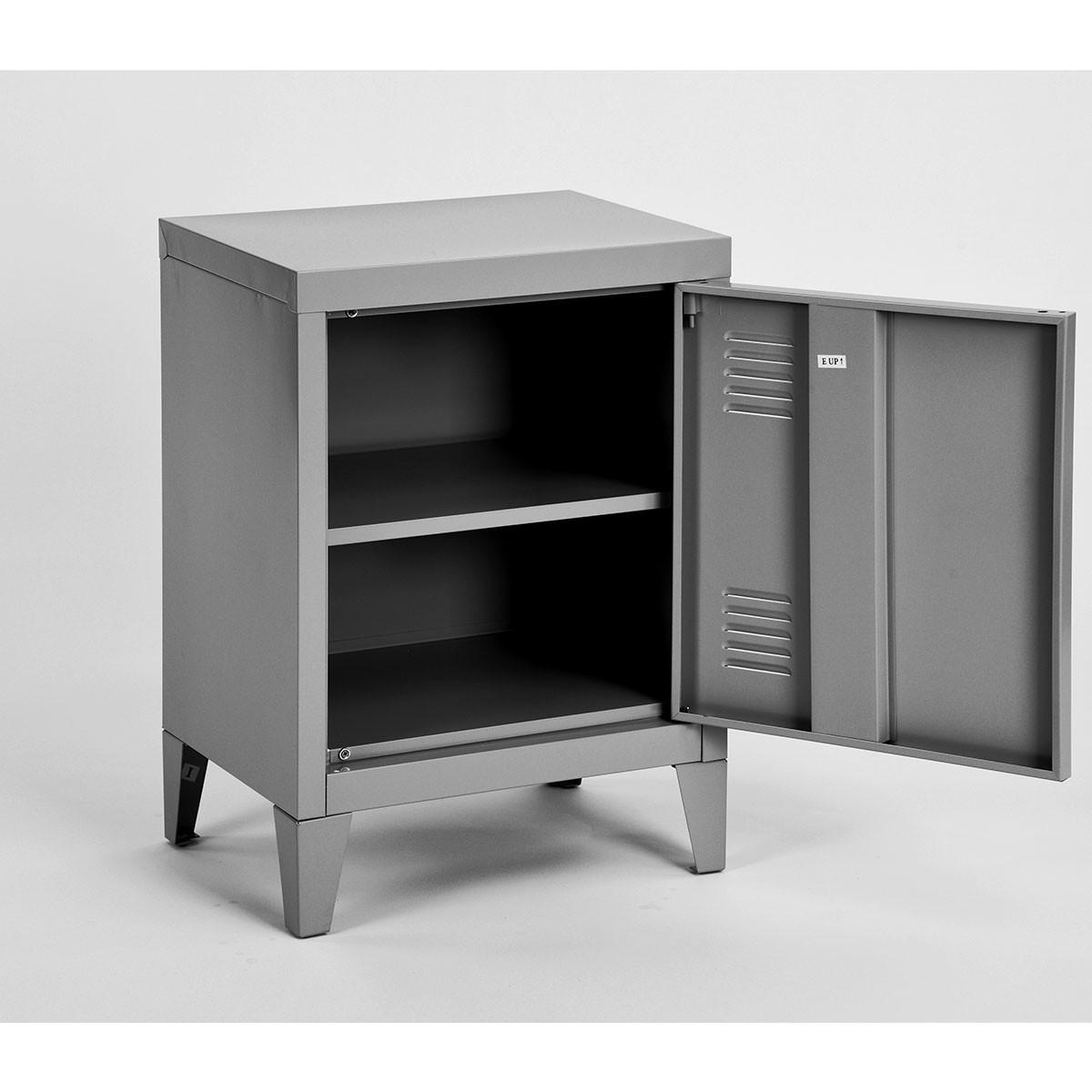 petite armoire en m tal gris. Black Bedroom Furniture Sets. Home Design Ideas