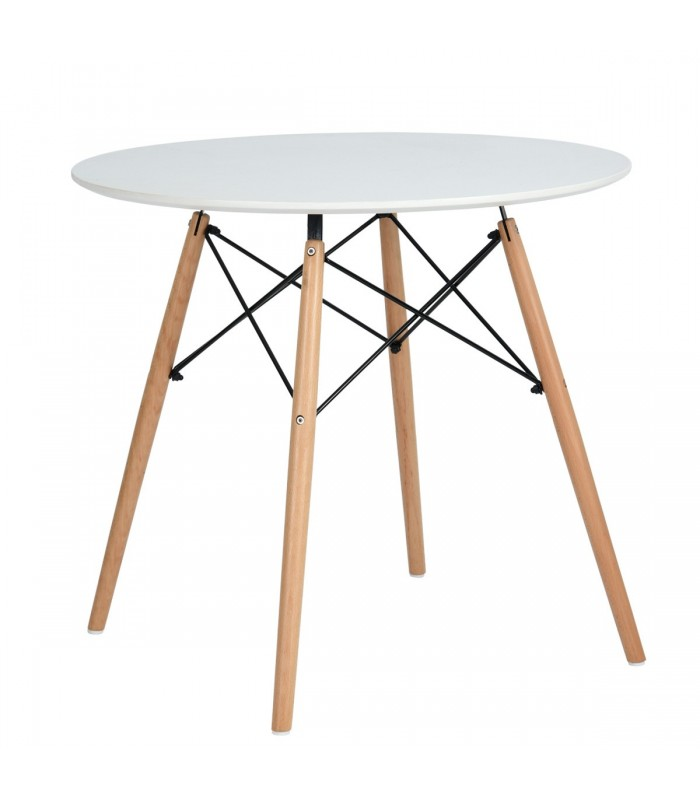 Table ronde scandinave blanche