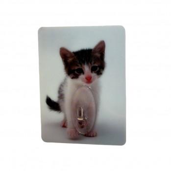Crochet plaquette adhésive décorative chat
