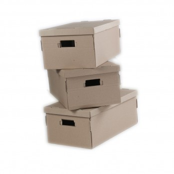 Boites carton pliables finition kraft écru - Lot de 3
