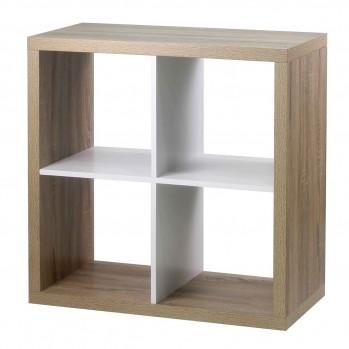 Étagère 4 cases coloris chêne intérieur blanc