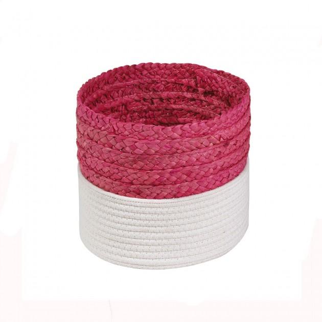 Panier bicolore blanc et rose en corde