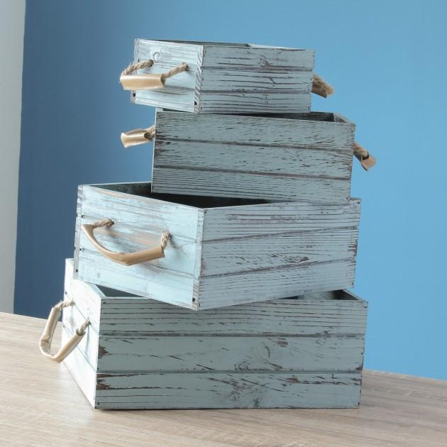 Caisses rectangulaires vintage en bois - lot de 4