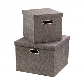 Lot de 2 boîtes en carton grises avec poignée en armarture métal