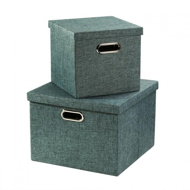Lot de 2 boîtes en carton bleu avec poignée armature métal