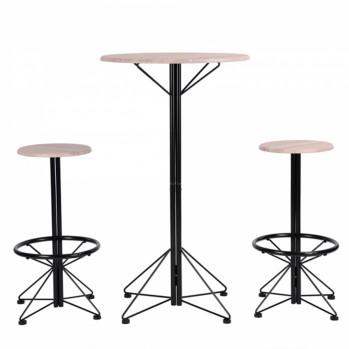 Ensemble table bar et 2 tabourets style industriel