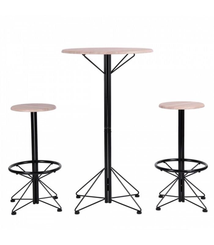 ensemble table bar et 2 tabourets style industriel - Table Bar Industriel