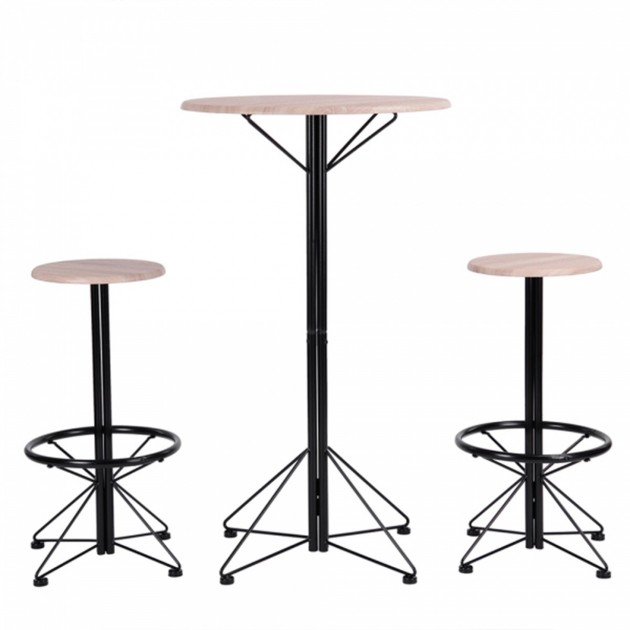 Ensemble table bar et 2 tabourets style industriel