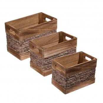 Lot de 3 caisses en bois et ficelle de maïs