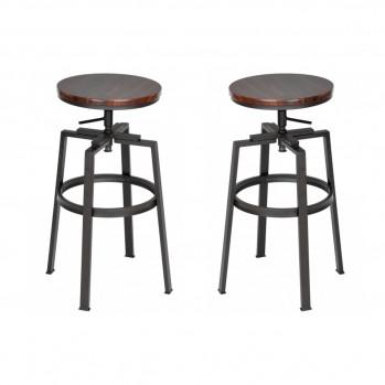 2 tabourets de bar style industriel avec hauteur réglable en bois et métal