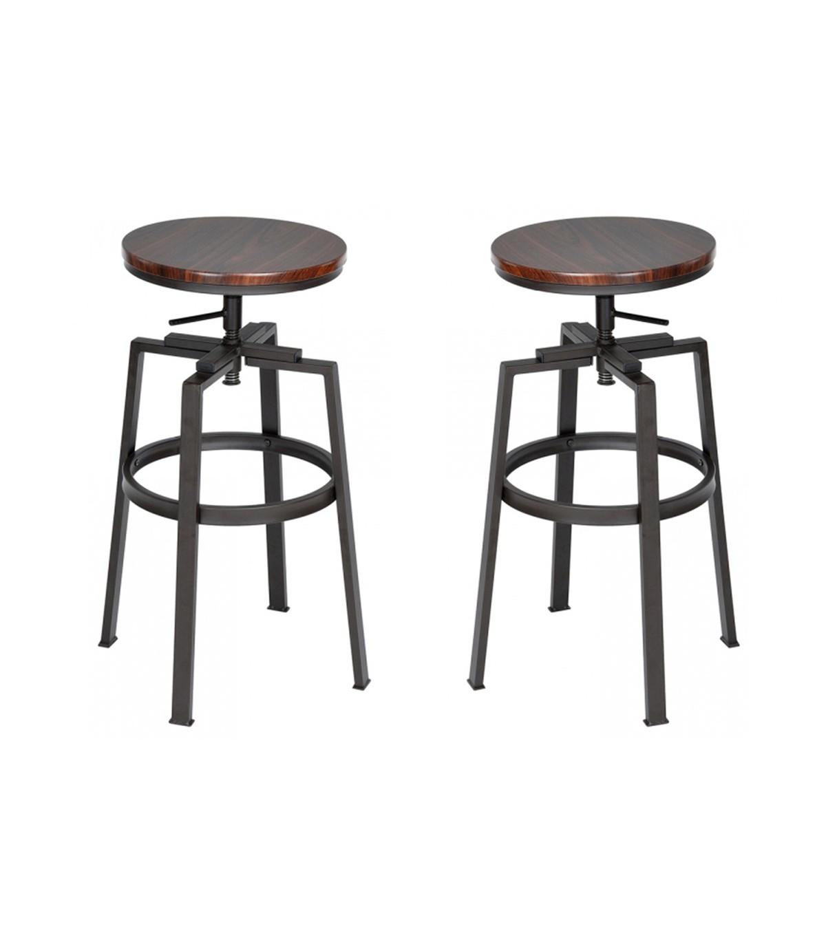 tabouret de bar bois et metal style industriel hauteur r glable